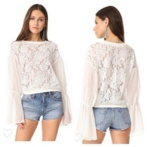 New Free People Some like love white blouse